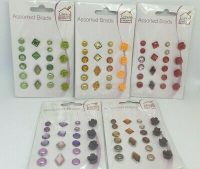 CREATE AND CRAFT - Pack of 20 Assorted Decorative Brads - Various Colours