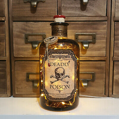 500ml Deadly Poison Round Glass Apothecary Bottle Lamp - Battery or USB Powered