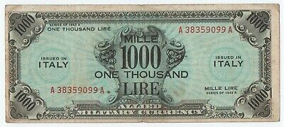 1000 Am Lire Occupazione Americana In Italia Bilingue F. L. C