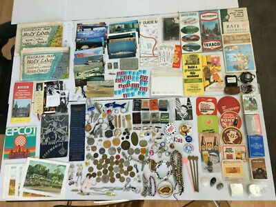 VTG Junk Drawer Dog Tag Keys Stamps Tokens Maps Cards Watches Booklets Jewelry