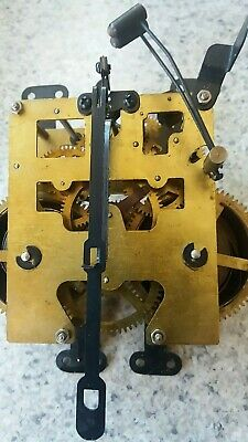 One Chinese Vintage 2 Hammer Strike Clock Movement. For Spares Or Repairs.