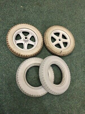12 1/2 X 2 1/4 (type 62-203) New Solid Tyres On Rims For An Electric Wheelchair