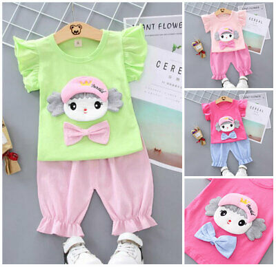 1 set  Kids baby girls summer clothes girls outfits top+ short pants pretty
