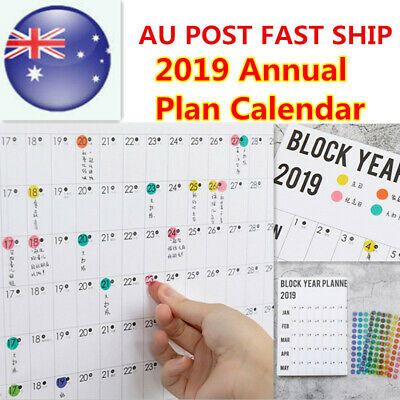 HOT 2020 Annual Schedule Calendar Yearly Decor Wall Planner With Sticker Dot AU