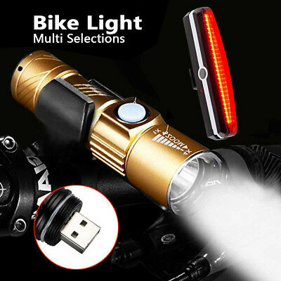 AU USB Rechargeable LED Mountain Bike Road Cycle Head Front Light Rear Tail Lamp