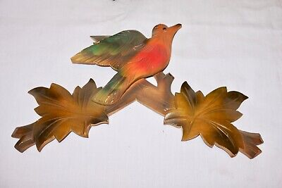 "Vintage Wooden Leaves Birds Cuckoo Clock Parts Top Topper 11"" 17#1cf .."