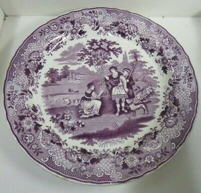 Antique Pottery Magenta Purple Glaze Willow Maastricht Petrus Ruth Boaz Plate