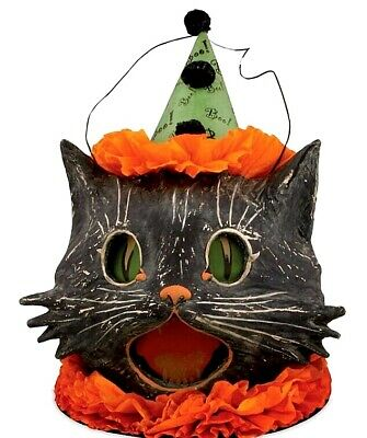 Bethany Lowe Vintage Style Halloween Paper Mache Sassy Cat Lantern Container