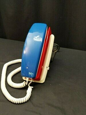 Vintage GTE Rotary Dial Wall Mount Phone Red, White & Blue