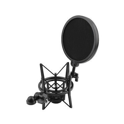 Hot Microphone Shock Mount Stand Holder & Integrated Pop Filter Black J0