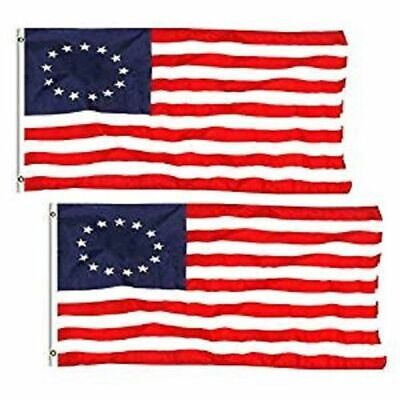 USA Betsy Ross Flag 3x5 ft 100% Polyester Sharp & Vivid Color Outdoor (Lot of 2)