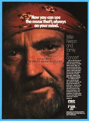 1984 Willie Nelson in Concert Country Music Video Promo Photo Print Ad