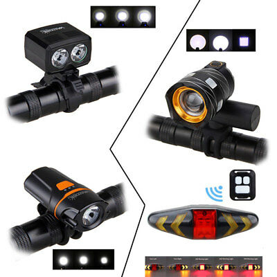 Rechargable Bicycle Headlight Front Rear Lamp Remote Control Signal Taillights