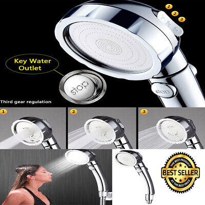 Stainless Steel 3 Setting Shower Head High Pressure Jets Water Saving Quality US