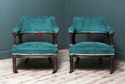 Attractive Pair Of Antique Upholstered Carved Walnut Tub Fireside Arm Chairs