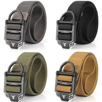 Nylon Double Ring Alloy Buckle Belt Outdoor Sport Military Tactical Strip 125cm