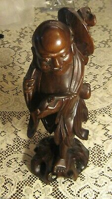 """Antique Chinese Carved Wood Statue Scholar Art Sculpture Lohan Robed 14"""" Tall"""