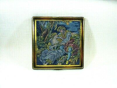 Vintage 1940'S-1950'S Square Velour Tapestry Style Mirror Powder Compact