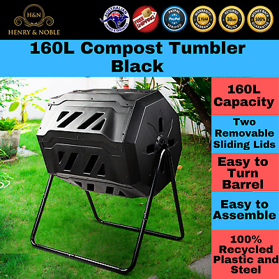 Compost Tumble Recycling Dual Bin Garden Food Waste Outdoor Dual Composter 160L