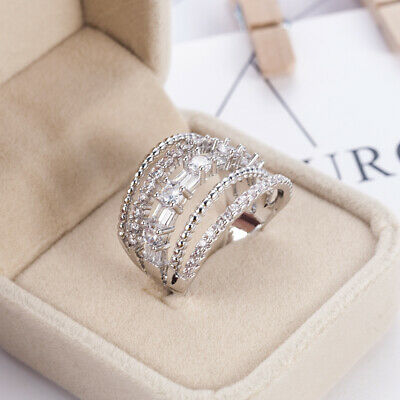 Classic 925 Silver Round Cut White Sapphire Engagement Ring Bridal Jewelry New