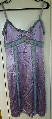 Vintage Betsey Johnson New York Purple Silky Satin Dress Size S w Floral Piping