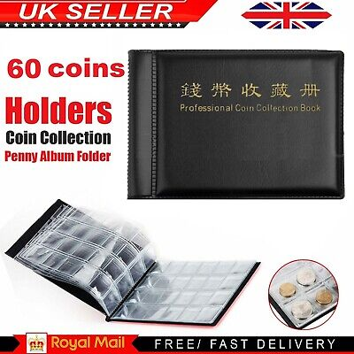 60 Album Coin Penny Money Storage Book Case Holder Folder Collection Collecting