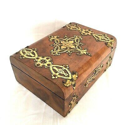 Beautiful VICTORIAN Blonde Burr Walnut JEWELLERY BOX Brass Decoration