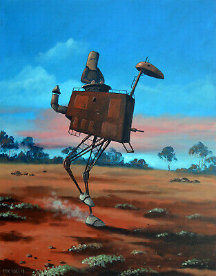 "Painting by MAX HORST ""Ned Kelly and his steaming Emu"" , certificate COA"