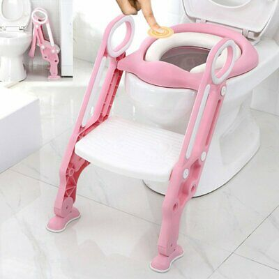 Kids Trainer Toilet Potty Training Seat Baby Toddler Chair Padded Seat Ladder UK