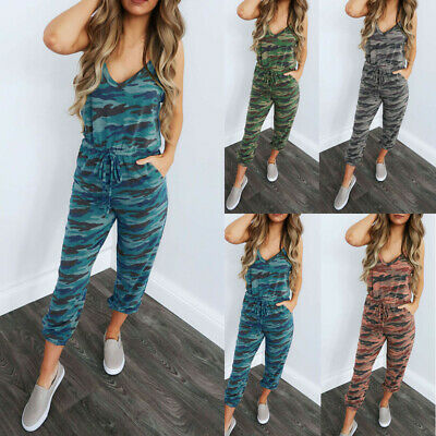 Women Playsuit Jumpsuit Romper Summer Sleeveless Long Trousers Pants Club Party