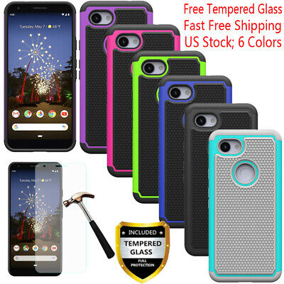For Google Pixel 3a/3a XL Shockproof Rugged Dual Rubber TPU Case+Tempered Glass
