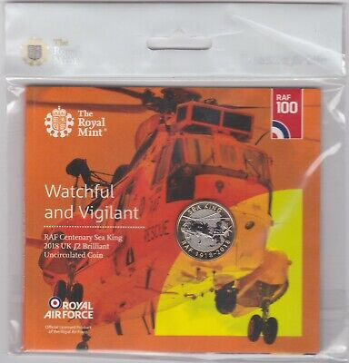 Sealed 2018 Royal Mint Uncirculated Raf Sea King Two Pound Coin Pack