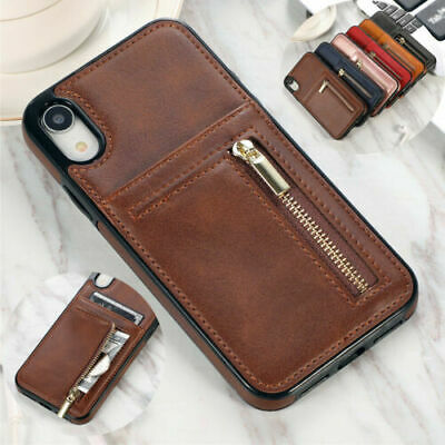 Luxury Zipper Leather Phone Case Card Holder Wallet Cover for iPhone XR X 7 8 6s