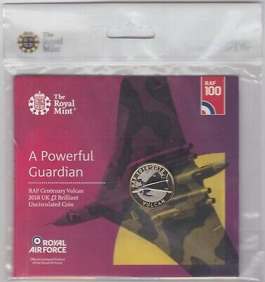 Sealed 2018 Royal Mint Uncirculated Raf Vulcan Two Pound Coin Pack