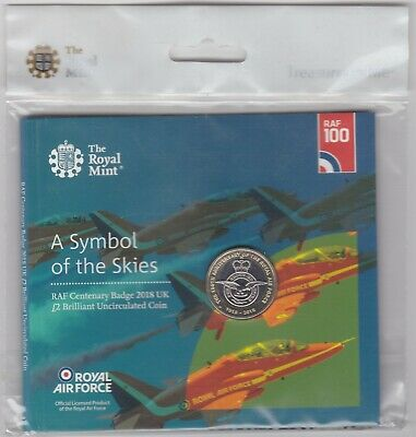 Sealed 2018 Royal Mint Uncirculated Raf Centenary Badge Two Pound Coin Pack