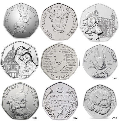 Paddington Sherlock Beatrix Potter 50p Coins Peter Rabbit Benjamin Fifty Pence