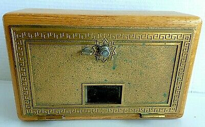 Vintage Oak and Brass Post Office Style Box with Combination Lock