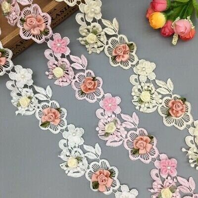 Soluble Colorful Pearl Flower Embroidered Lace Trim Ribbon Fabric Sewing Craft