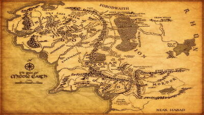 158610 Map of Middle Earth Lord Of The Rings Hobbit Wall Decor Poster Print