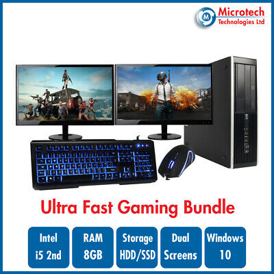ULTRA FAST HP 8200 Gaming Bundle Intel Core i5 8GB GT710 DUAL SCREEN Windows 10