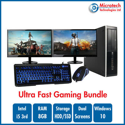 ULTRA FAST HP 8300 Gaming Bundle Intel Core i5 8GB 1TB GT710 DUAL SCREEN Win 10