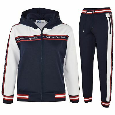 Kids Boys Girls Tracksuits Navy A2Z Project Signature Taped Hooded Top Jog Suits
