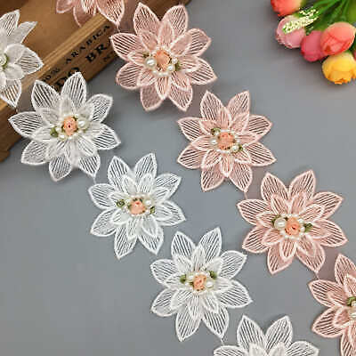 Soluble Pink White Rose Flower Pearl Embroidered Lace Trim Ribbon Fabric Sewing