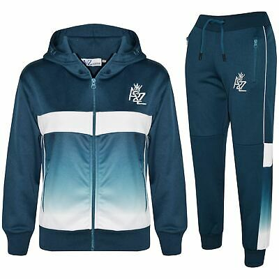 Kids Boys Girls Tracksuits A2Z Fade Gradient Teal Hooded Top Bottom Jogging Suit