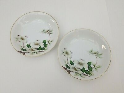 "Meito Norleans China Livonia Soup Bowls Set of 2 Dogwood Flowers 7.75"" Japan"