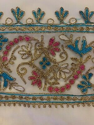"""embroidered White Fabric 210""""x44"""" Or 530x115 Cm"""