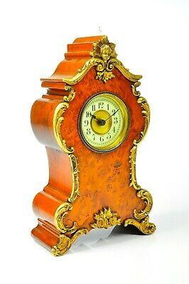 Antique French Mantel Clock with Brass / Birds Eye Maple approx.1910