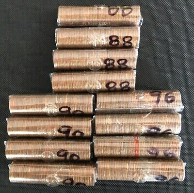 12 Canadian 1 Cent Rolls 4/1988-4/1990-4/1996