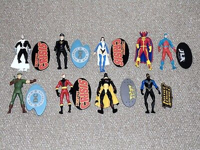 Lot of 9 2000s DC Direct Action Figures The Atom Elongated Man Blackhawk More