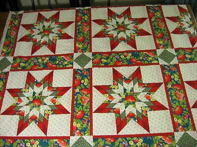VINTAGE CHEATER QUILT Fabric Garden Patch Floral Dragonfly Butterfly
